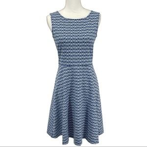 Talbots Blue & White Fit & Flare Dress - Size S
